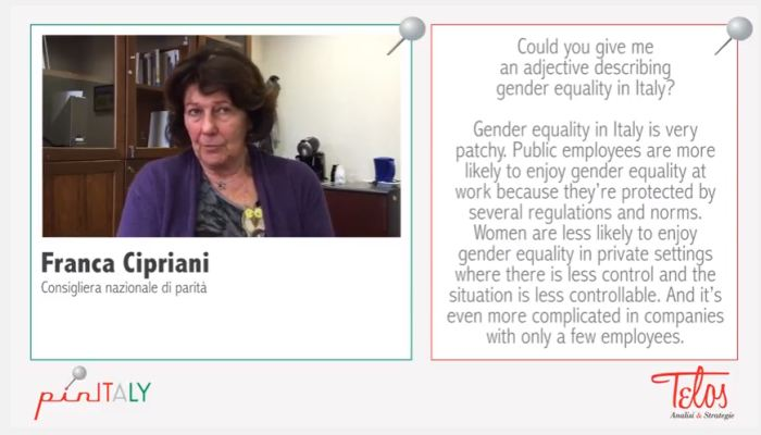 Interview with Franca Cipriani,National Gender Equality Advisor