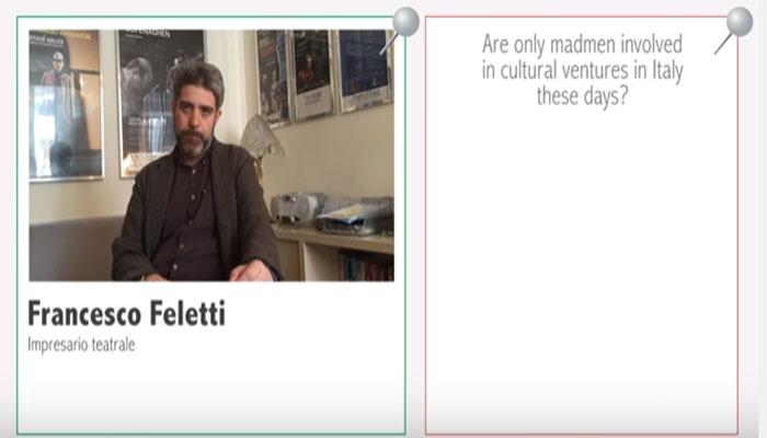 Francesco Feletti per pinITALY. Il lavoro dell'attore? Cercare lavoro