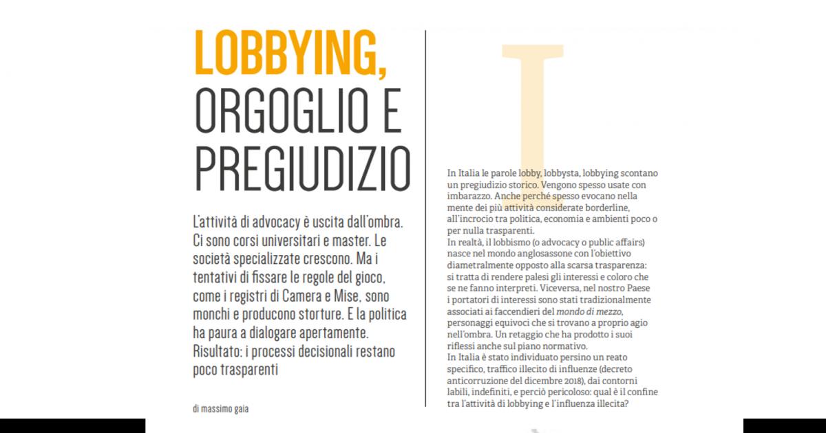 Lobby: poco orgoglio, tanto pregiudizio
